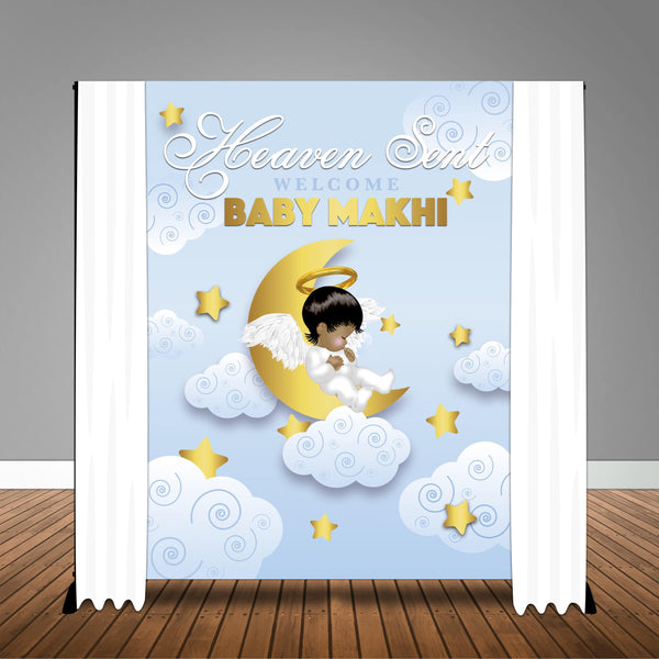 Heaven Sent Baby Shower 6x8 Banner Backdrop Design, Print and Ship!