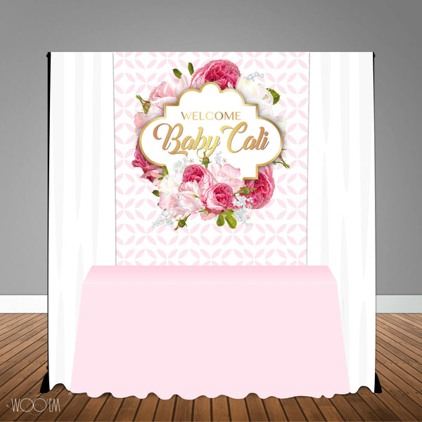 Pink White Floral 5x6 Table Banner Backdrop/ Step & Repeat, Design, Print and Ship!