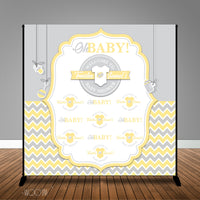 Yellow Grey Chevron Baby Shower 8x8 Backdrop / Step & Repeat, Design, Print and Ship!