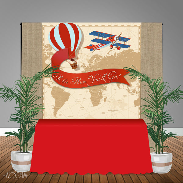 Vintage Travel Themed 6x6 Banner Backdrop/ Step & Repeat Design, Print and Ship!