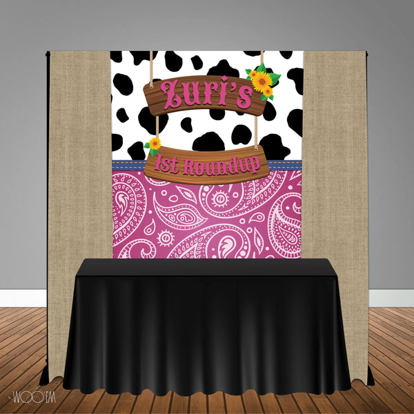 Cowgirl Country Western Themed 5x6 Table Banner Backdrop/ Step & Repeat, Design, Print and Ship!