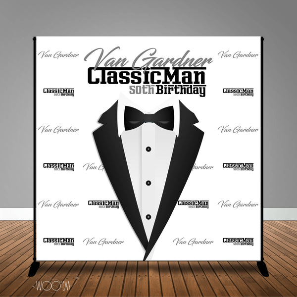 Classic Man 40th, 50th, 60th Black White Birthday 8x8 Backdrop, Design, Print & Ship!