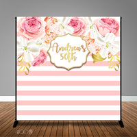 Blush Coral Stripes and Floral Birthday 8x8 Backdrop, Design, Print & Ship!