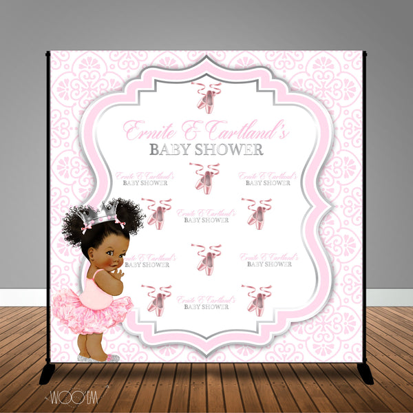 Ballerina Princess Themed Baby Shower Banner Backdrop/ Step & Repeat Design, Print and Ship!
