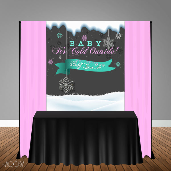 Baby It's Cold Outside 5x6 Table Banner Backdrop/ Step & Repeat, Design, Print and Ship!