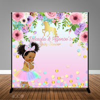 Unicorn with Floral Baby Shower, 8x8 Backdrop / Step & Repeat, Design, Print and Ship!