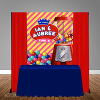 Dubble Bubble Themed 5x6 Table Banner Backdrop/ Step & Repeat, Design, Print and Ship!