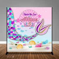 Mermaid Under the Sea 8x8 Themed Banner Backdrop/ Step & Repeat Design, Print and Ship!