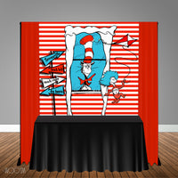 Dr Seuss Cat in Hat 6x6 Banner Backdrop/ Step & Repeat, Design, Print and Ship!
