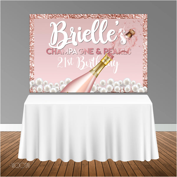 Champagne and Pearls 6x4 Candy Buffet Table Banner Backdrop/ Step & Repeat, Design, Print and Ship!