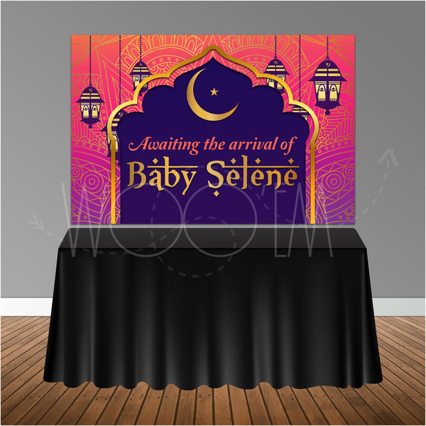 Moroccan Arabian Themed Baby Shower 6x4 Candy Buffet Table Banner Backdrop, Design, Print and Ship!
