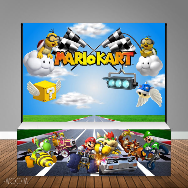 MarioKart 8x8 Table Banner Backdrop with 8ft Table Wrap/ Step & Repeat, Design, Print and Ship!