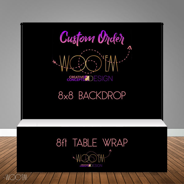 Custom 8x8 Table Banner Backdrop with 8ft Table Wrap/ Step & Repeat, Design, Print and Ship!