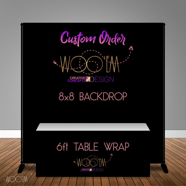 Custom 8x8 Table Banner Backdrop with 6ft Table Wrap/ Step & Repeat, Design, Print and Ship!