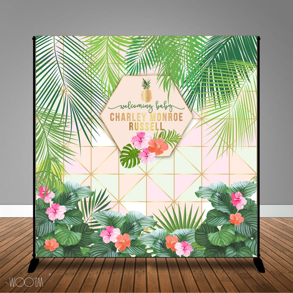 Tropical Geometric Banner Backdrop/ Step & Repeat Design, Print and Ship!