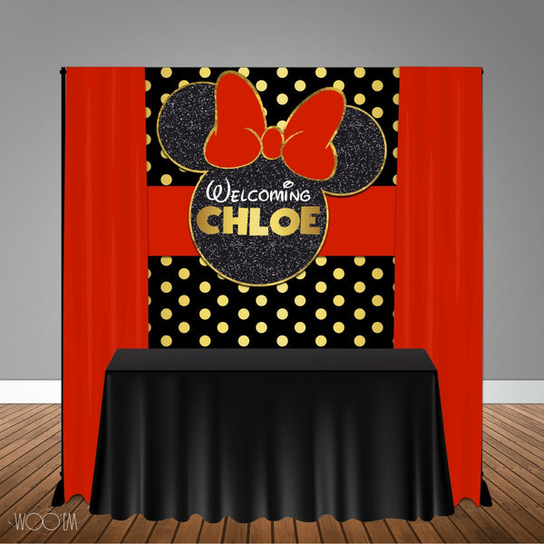 Red Minnie Mouse 5x6 Table Banner Backdrop/ Step & Repeat, Design, Print and Ship!