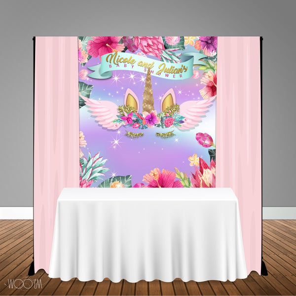 Tropical Unicorn 5x6 Table Banner Backdrop/ Step & Repeat, Design, Print and Ship!