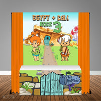 Pebbles and Bam Bam  6X6 Table Banner Backdrop w/6ft Table Wrap, Design, Print & Ship!