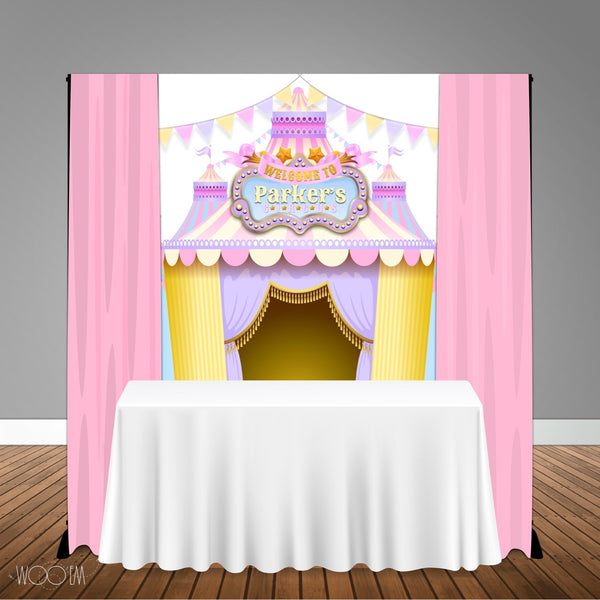 Carnival Circus Pink Purple Themed 5x6 Table Banner Backdrop, Design, Print & Ship!