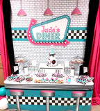 1950's Diner  6X6 Table Banner Backdrop with 6ft Table Wrap/ Step & Repeat, Design, Print and Ship!