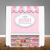 Candy Shop 6X6 Table Banner Backdrop with 6ft Table Wrap/ Step & Repeat, Design, Print and Ship!