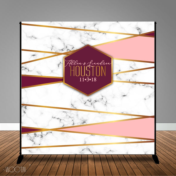 Blush and Burgundy Geometric 8x8 Backdrop / Step & Repeat, Design, Print and Ship!