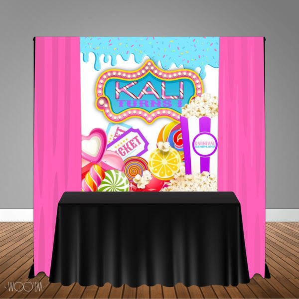 Carnival Circus Sweets Themed 5x6 Table Banner Backdrop/ Step & Repeat, Design, Print and Ship!