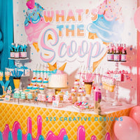 "Ice Cream Gender Reveal ""What's the Scoop"" 6X6 Table Banner Backdrop with 6ft Table Wrap, Design, Print & Ship!"