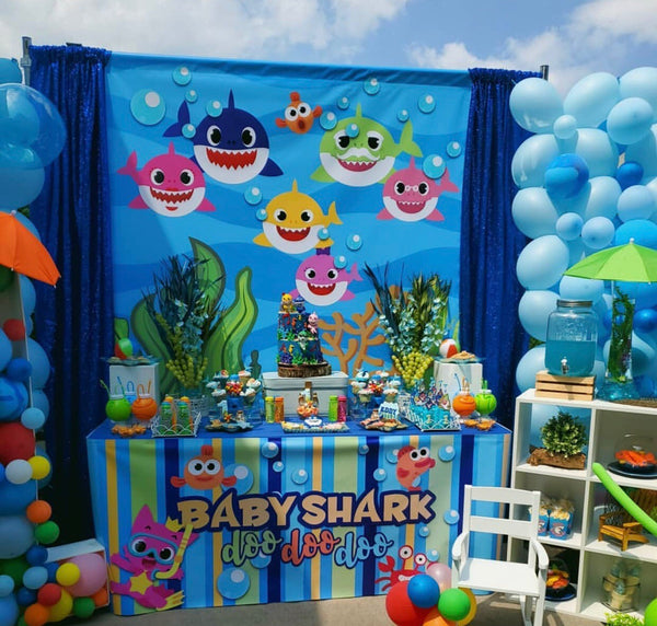 Baby Shark 6X6 Table Banner Backdrop with 6ft Table Wrap/ Step & Repeat, Design, Print and Ship!