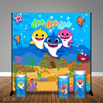 Baby Shark Themed 8x8 Banner Backdrop/ Step & Repeat, Design, Print and Ship!