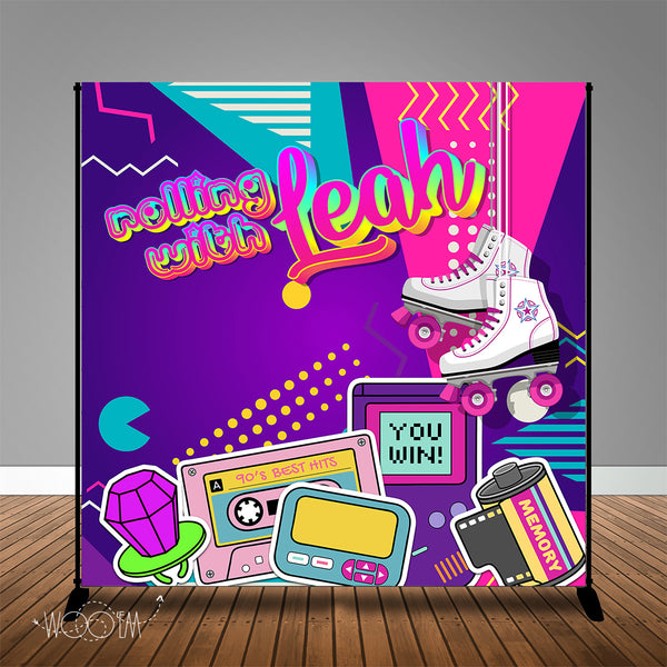 Skate Party 80's 90's Themed 8x8 Backdrop/Step & Repeat, Design, Print and Ship!