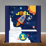 Space Trip Around Sun 6X6 Table Banner Backdrop with 6ft Table Wrap, Design, Print & Ship!