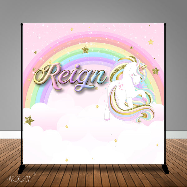 Unicorn with Rainbow 8x8 Themed Baby Shower Banner Backdrop/ Step & Repeat Design, Print and Ship!