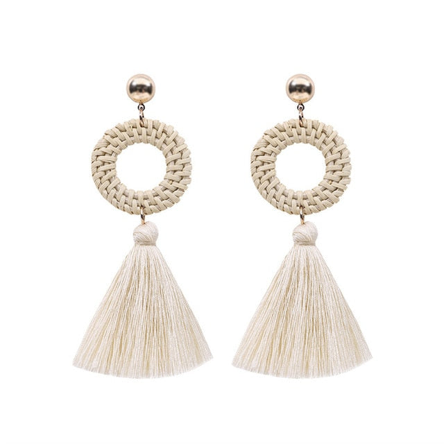 Round Hoop Tassel Earrings
