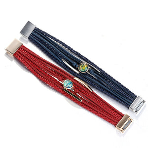 Braided Leather Wrap with Natural Multi-color Stone