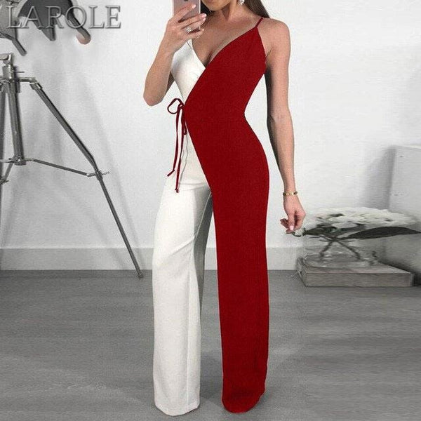 Wide Leg Jumpsuits Overall Spaghetti Strap Double Color Jumpsuit Romper Womens Casual Overalls