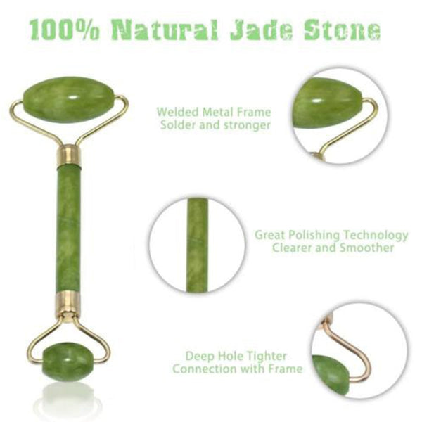 2 in 1 Green Roller and Gua Sha Tools Set by Natural Jade Scraper Massager