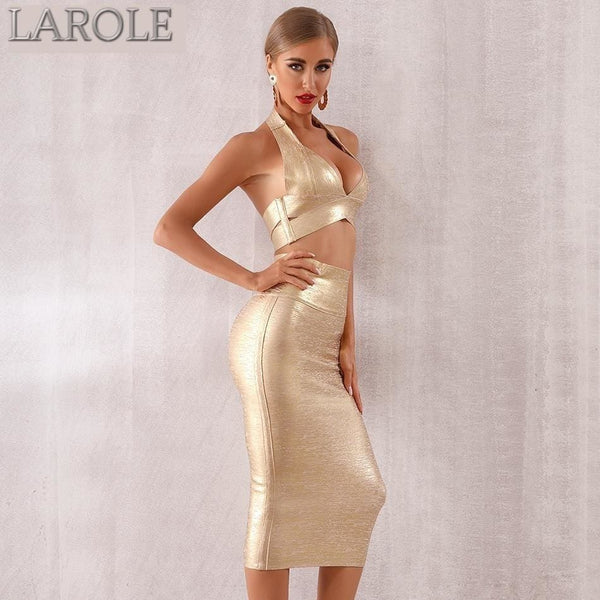 2 Two pieces Gold Crop Top and Pencil Skirt Set - Set