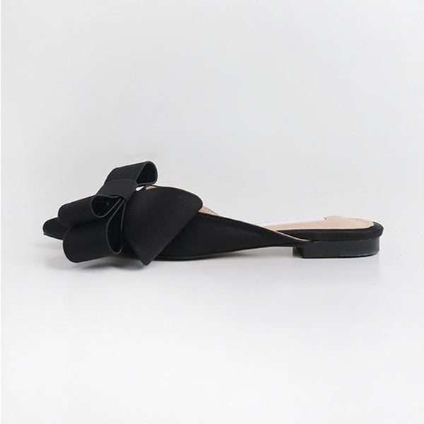 Pointed bow tie slippers flat shoes