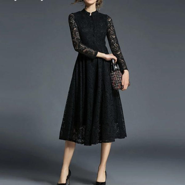 Long Sleeves Lace Temperament Black Midi Dress