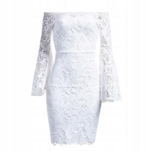 Off shoulder  Lace Flare long sleeve Midi dress - More Colors Are Available