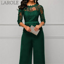 Load image into Gallery viewer, Women Plus Size Jumpsuit Hot Sale Loose Solid Color Playsuit Party Romper Half Lace Sleeve Party Elegant Long Jumpsuit