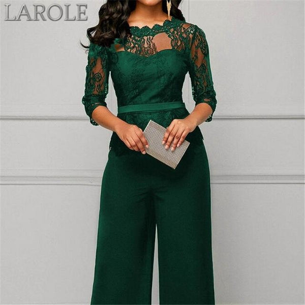 Women Plus Size Jumpsuit Hot Sale Loose Solid Color Playsuit Party Romper Half Lace Sleeve Party Elegant Long Jumpsuit
