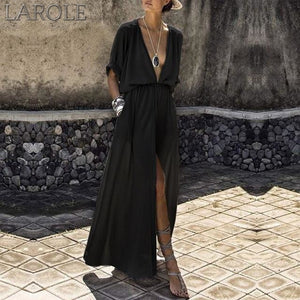 Summer Women Loose Pockets Maxi Dress Bohemian Sexy Deep V-Neck Long Dress Casual Short Batwing Sleeve Split Dresses