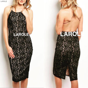 LAROLE| BEAR IT ALL  OPEN BACK MIDI ALLOVER LACE DRESS