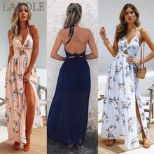 Load image into Gallery viewer, Women Maxi Long Dress Holiday Summer Evening Party Beach Slit Spilt Sundress Woman Ladies Sleeveless Dresses