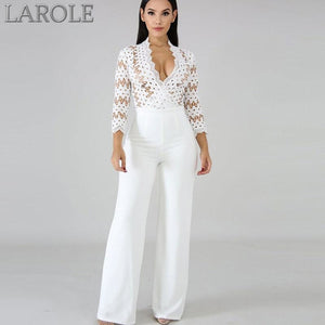 White Long Sleeve Women Jumpsuits Sexy Hollow Out Bodysuit Overalls Female Elegant Party Bodycon Jumpsuit Rompers Femme