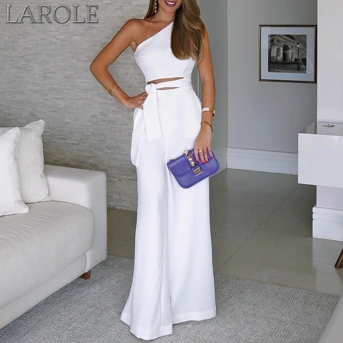 Summer Elegant Office Women White Casual Jumpsuit One Shoulder Female CutOut Tie Waist Wide Leg Jumpsuit
