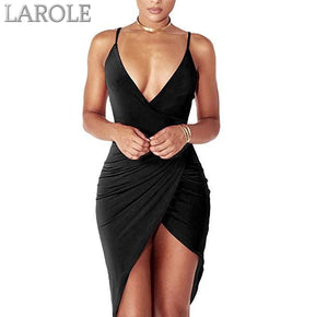 Sexy Deep V Neck Backless Slit Mini Dress Clubwear