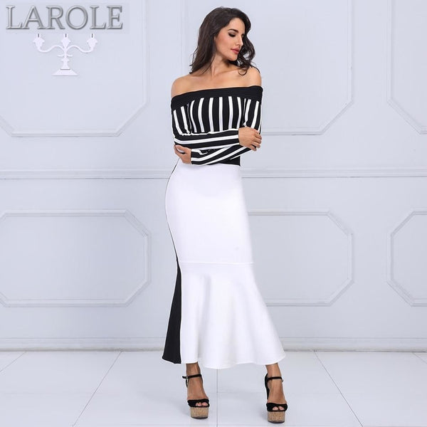 Black & White Long Sleeve Striped Off Shoulder Maxi Dress